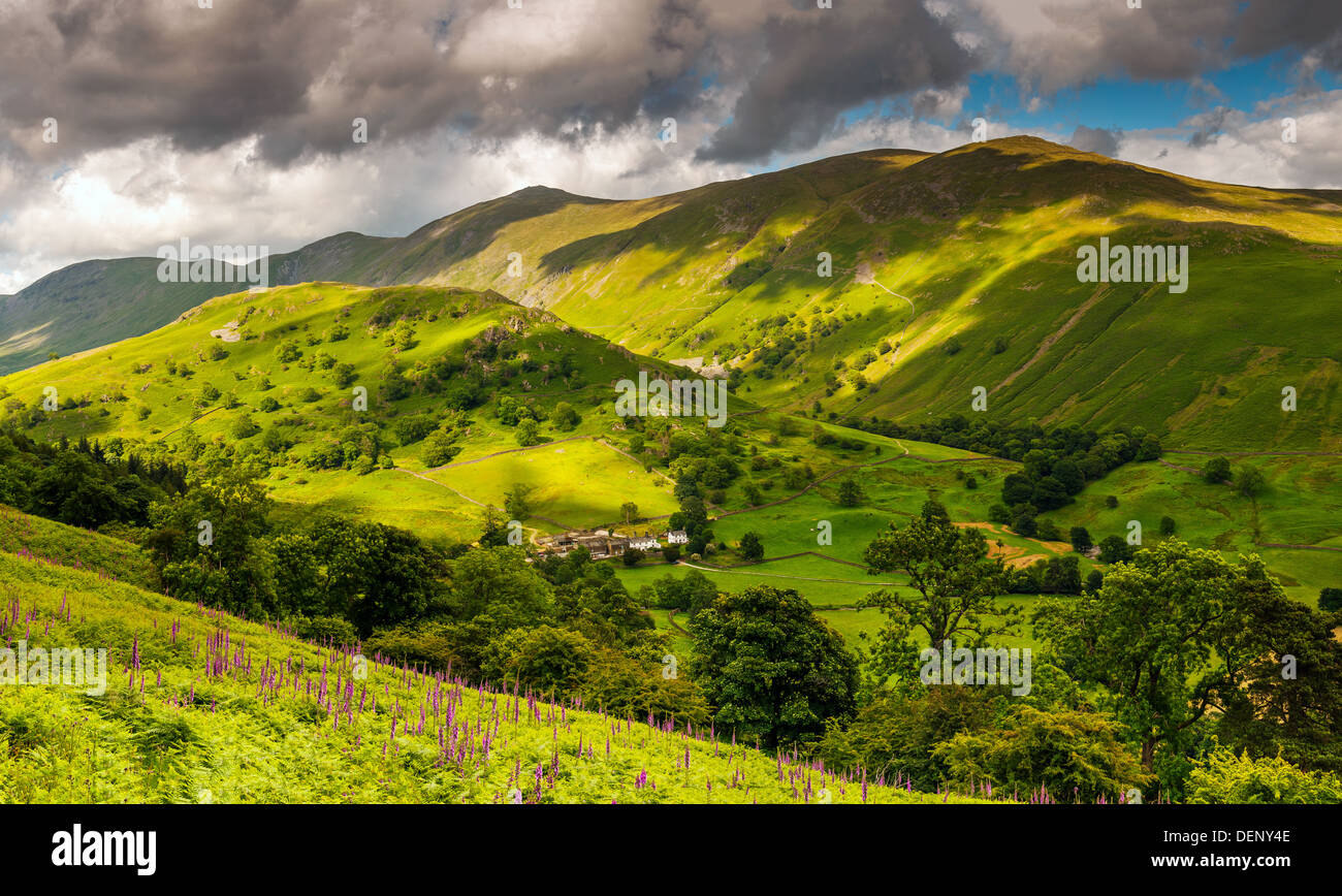 Troutbeck Tongue kentmere pike and Troutbeck Park Farm troutbeck vale Lake District National Park Cumbria England United Kingdom - Stock Image
