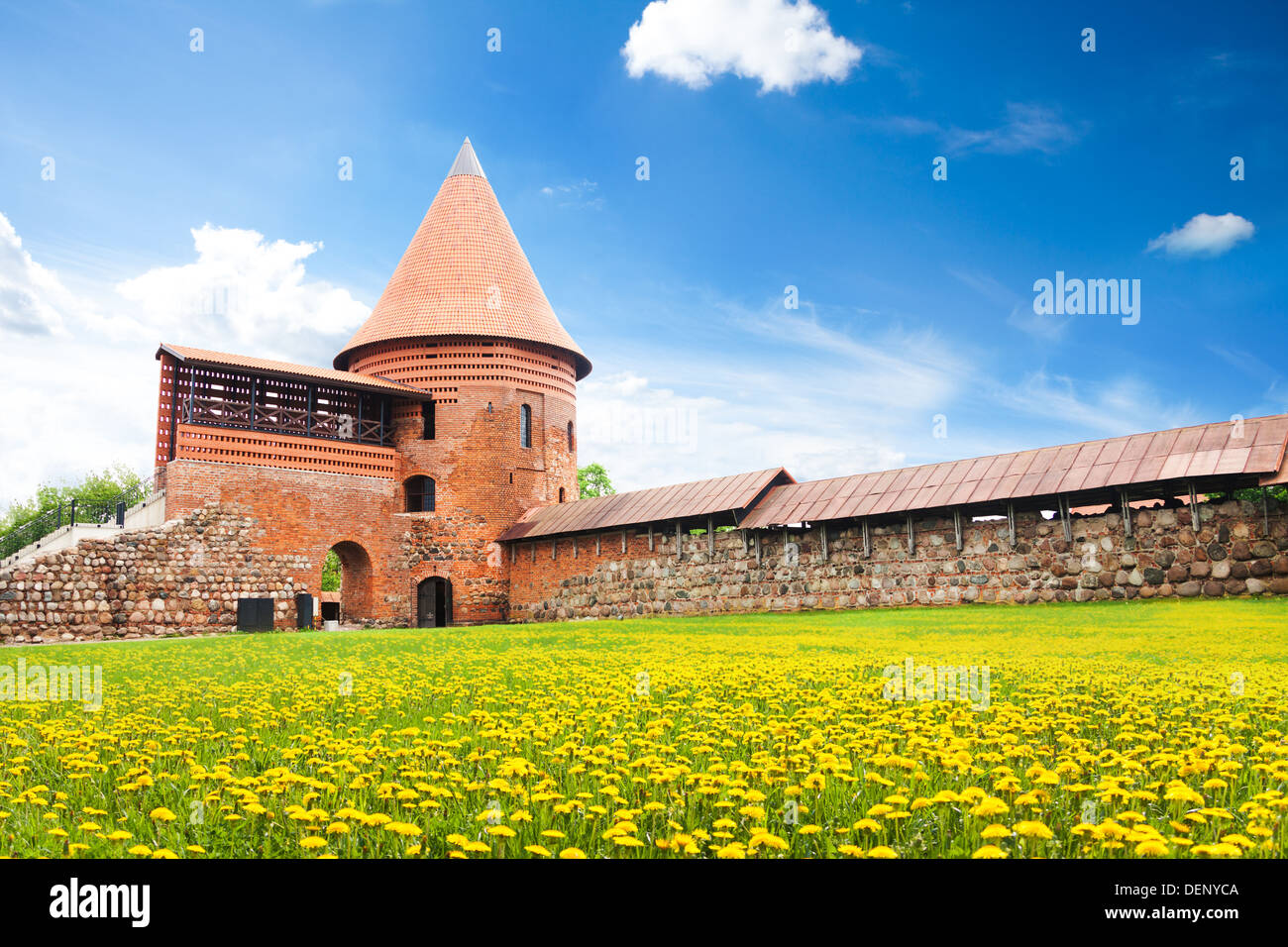Inner yard of remaining parts of castle in Kaunas town on the west of Lithuania - Stock Image