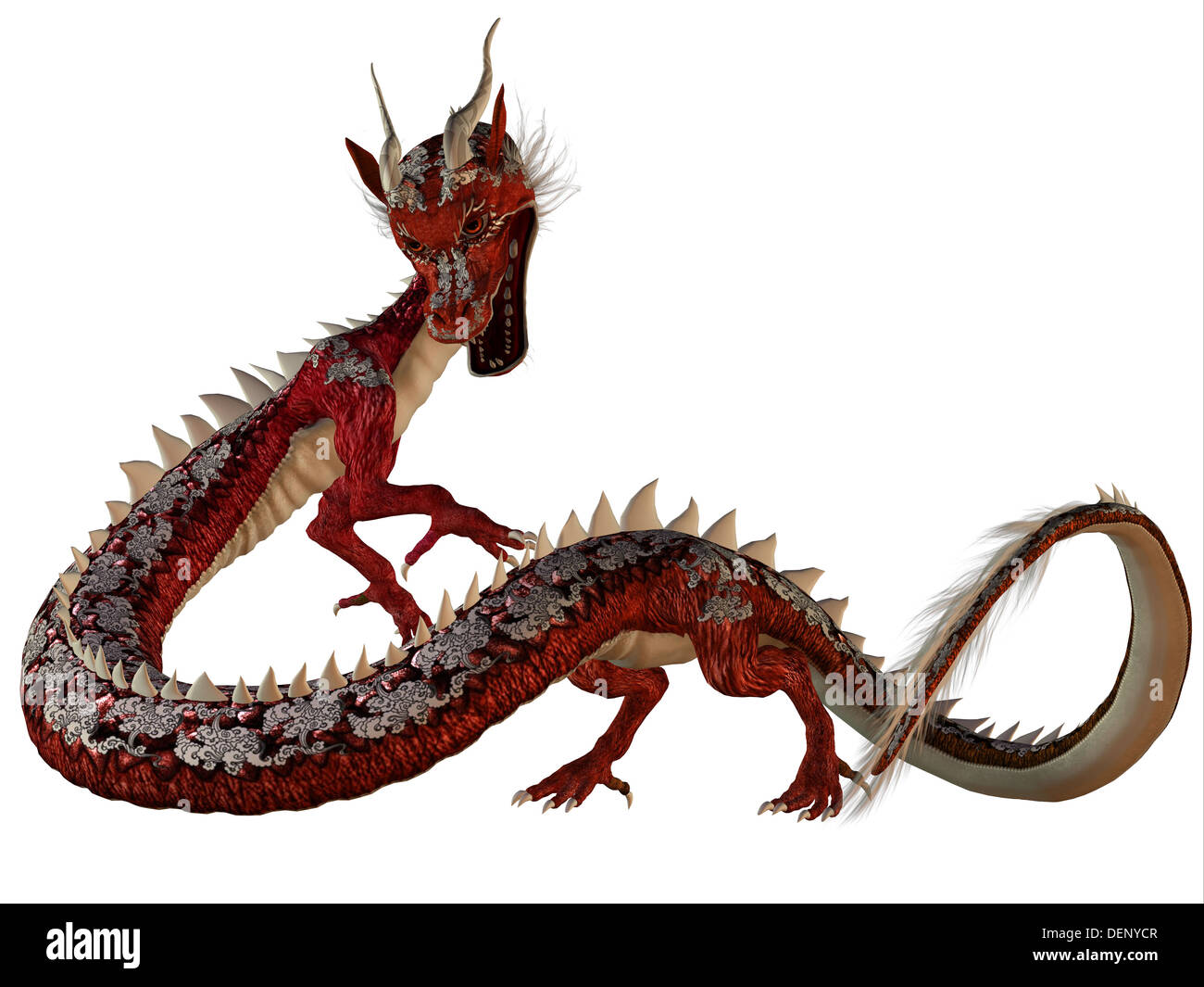 A creature of myth and fantasy the dragon is a fierce monster with horns and large teeth. - Stock Image