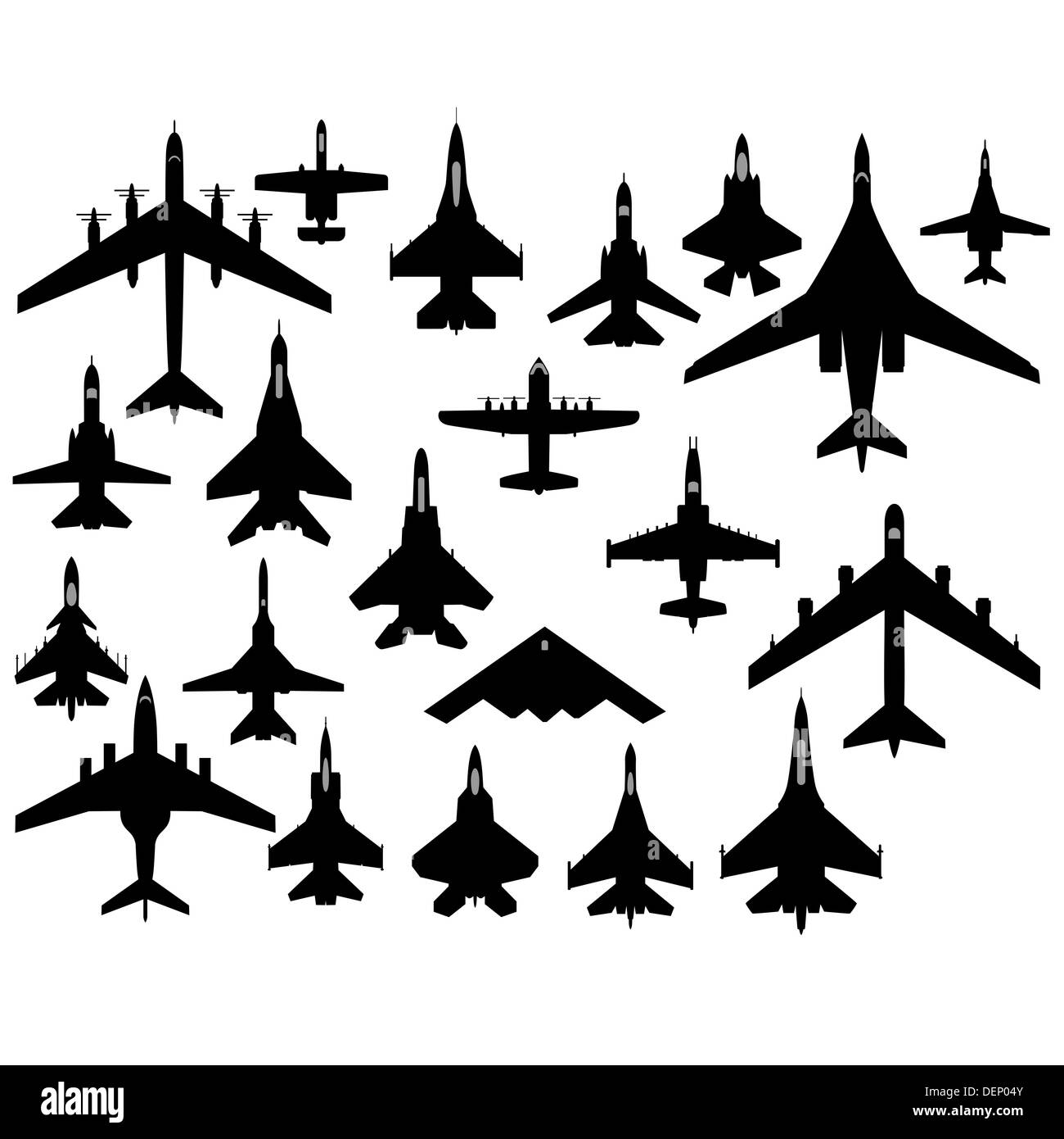 The contours of aircraft military aircraft. The illustration on a white background. - Stock Image