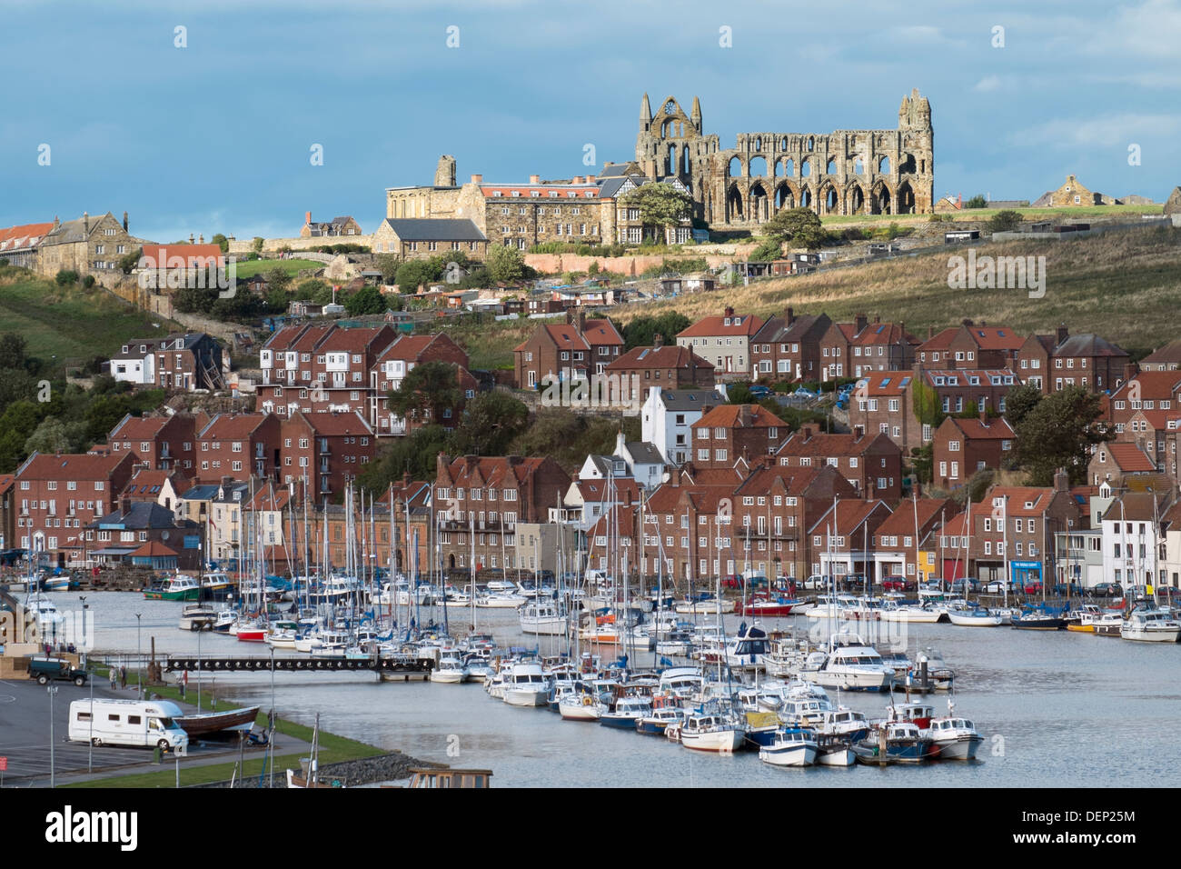 View of Whitby harbour showing the Church and Abbey. River Esk - Stock Image