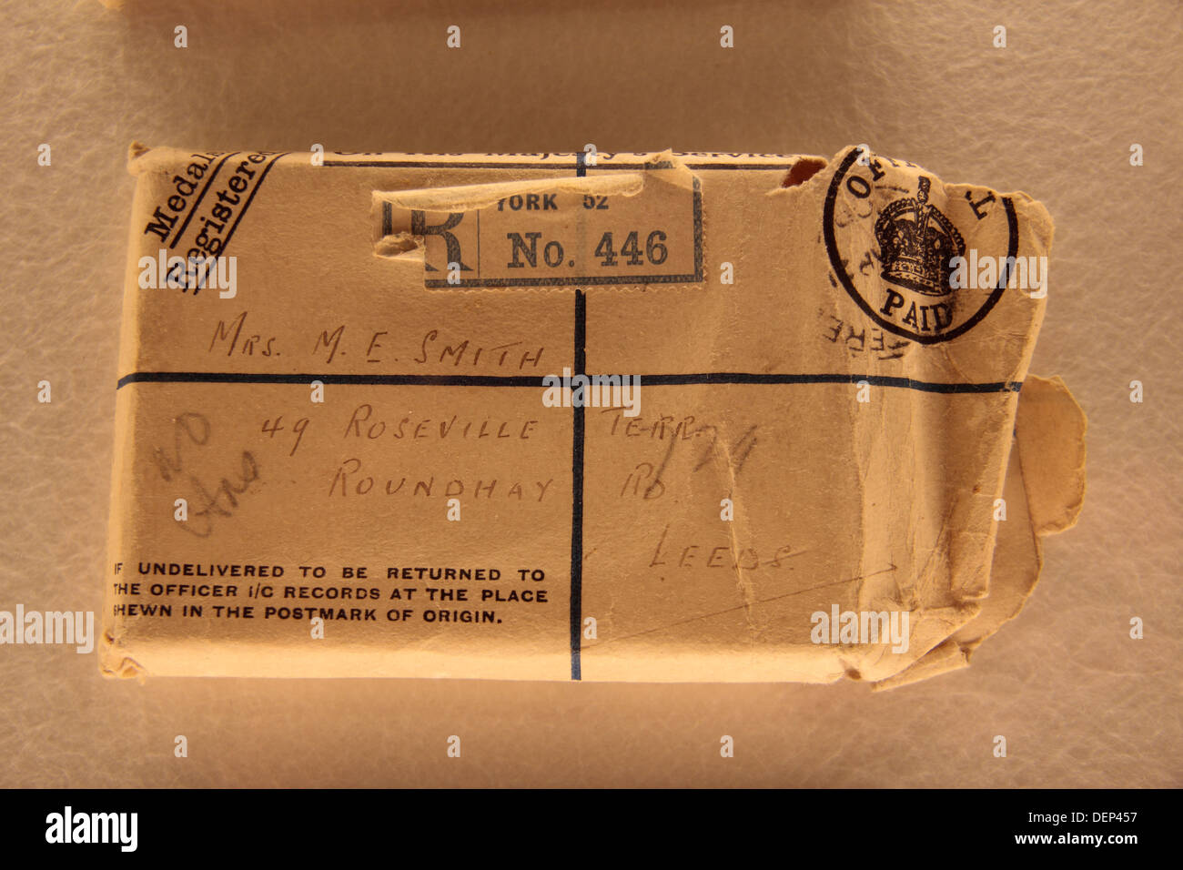 Package sent home by Rifleman Charles H Smith to his mother, Tyne Cot Cemetery, Zonnebeke, Belgium. - Stock Image