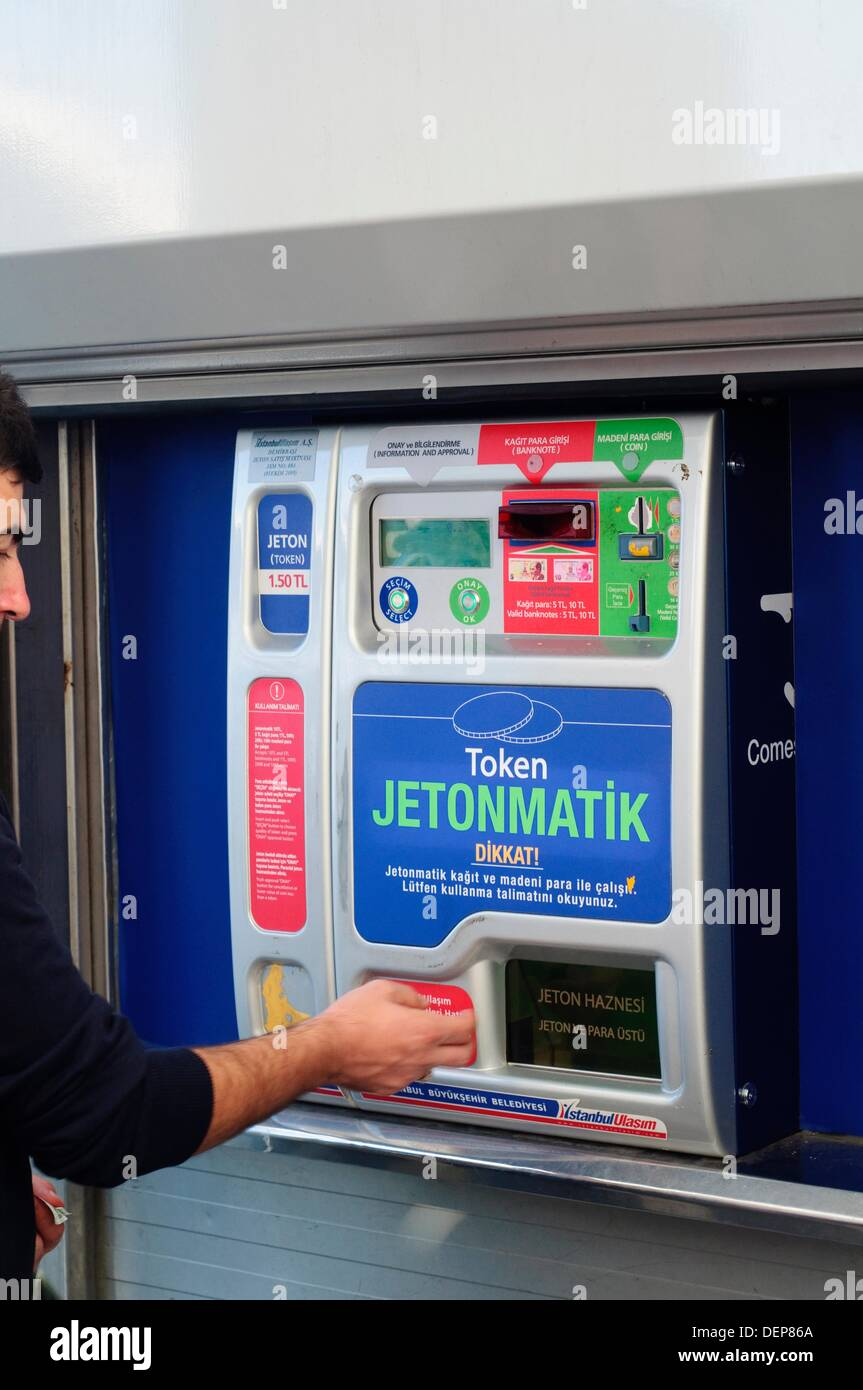 Turkey, Istanbul, Ticket Machine on Pubic Tram, Buying Jetons for the Tram - Stock Image