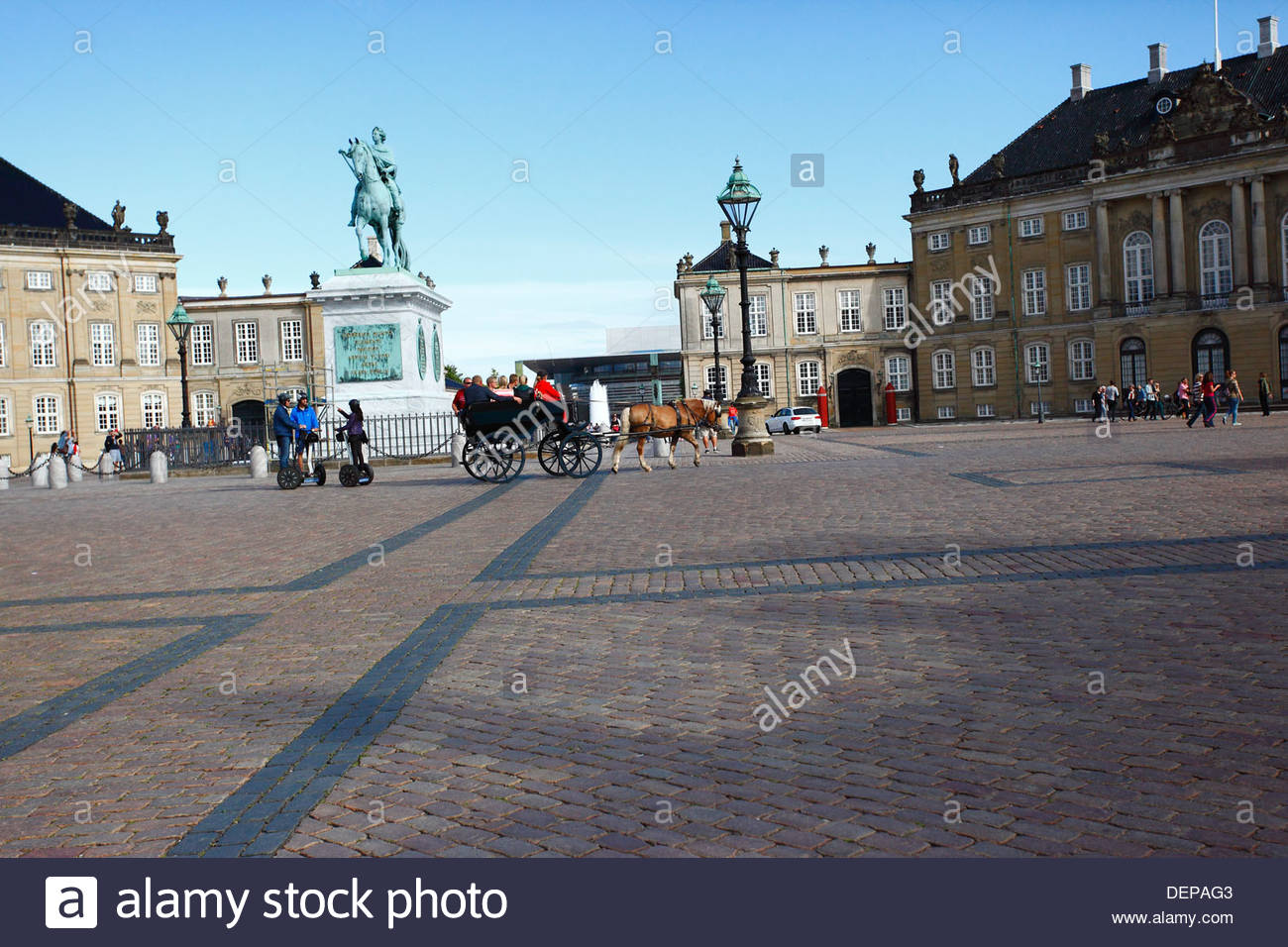 Amalienborg Slot, winter home of the Danish royal family, in Copenhagen, Denmark. - Stock Image