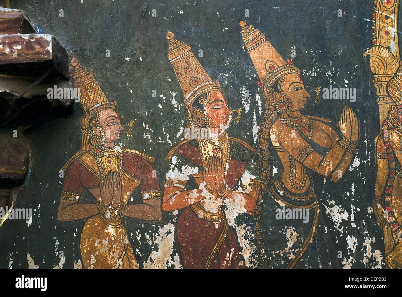 17th century Murals in Varadaraja Perumal (Vishnu) temple in kanchipuram,  Tamil Nadu, India. Varadaraja Perumal temple is an Stock Photo - Alamy