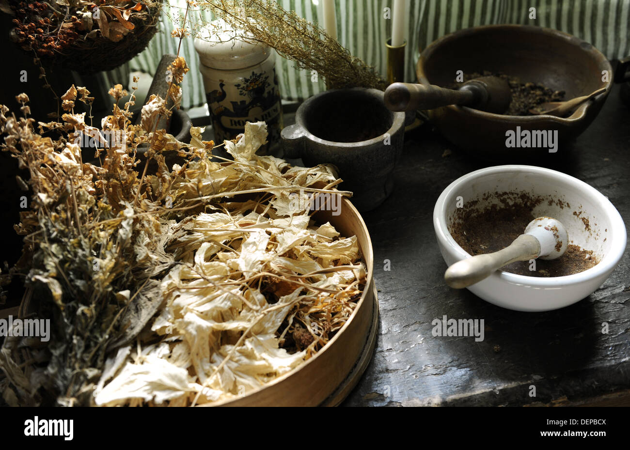 Apothecary's. Ancient herbalism. Pharmacy Museum. Turku. Finland. Stock Photo