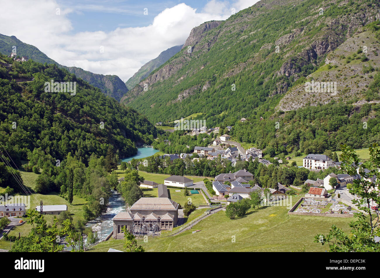 The small town of Gedre the French Pyrenees Stock Photo