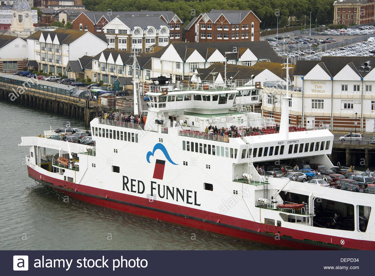 Red Funnel Ferry, Port of Southampton, Hampshire County, England, Great Britain - Stock Image
