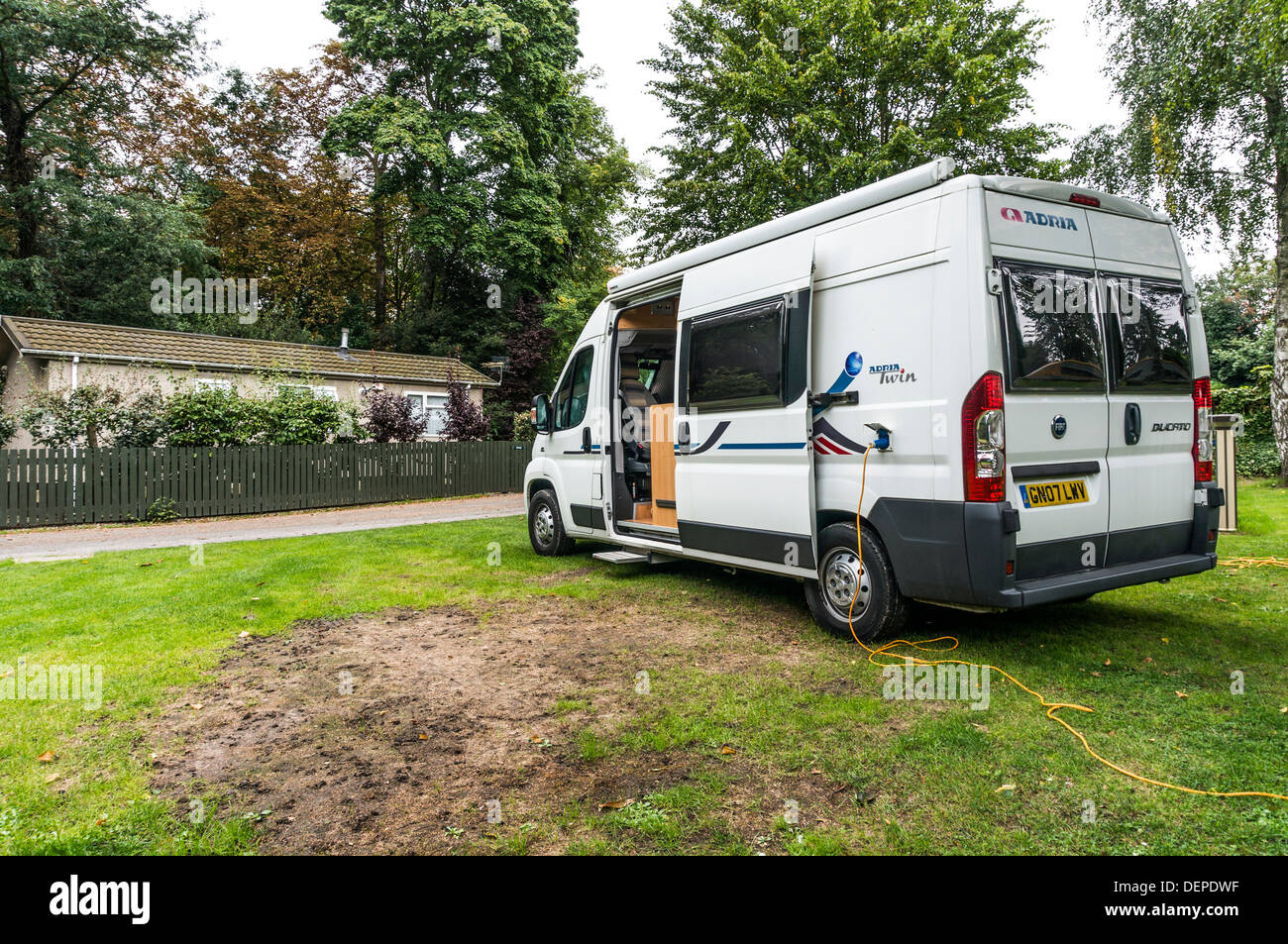 An Adria Twin motorhome parked on a pitch at the Crystal Palace Caravan Club site, London England. - Stock Image