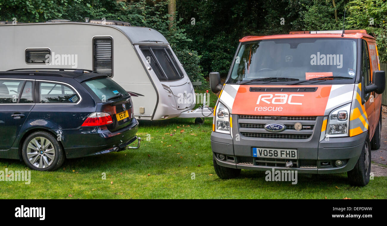 RAC vehicle attending a car breakdown at the Caravan Club site at Crystal Palace, London, England. - Stock Image