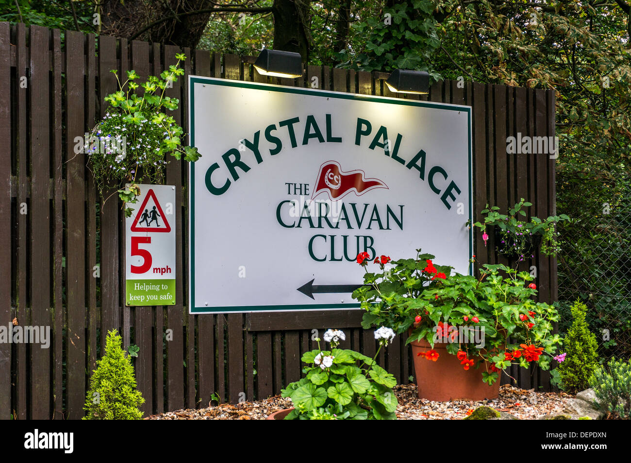 Caravan Club sign at the entrance to the site at Crystal Palace, London, England. - Stock Image