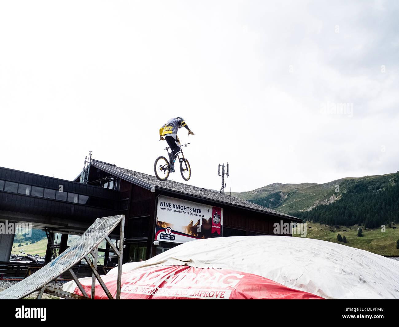 jump on a bike - Stock Image