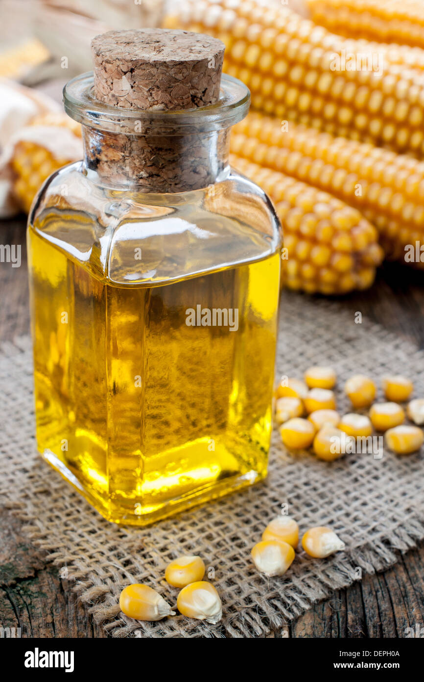 Corn oil in small bottle - Stock Image