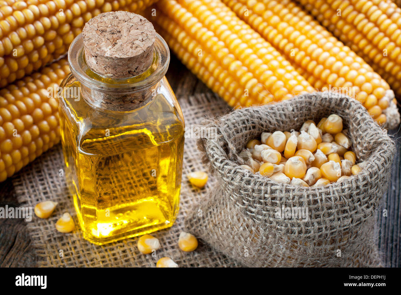 Corn oil in small bottle - Stock Image