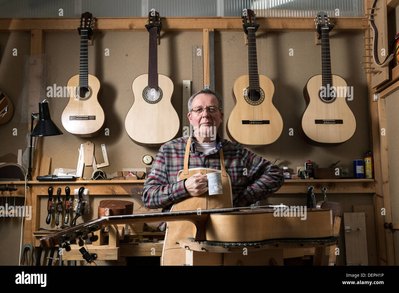 Guitar maker standing in workshop, portrait - Stock Image