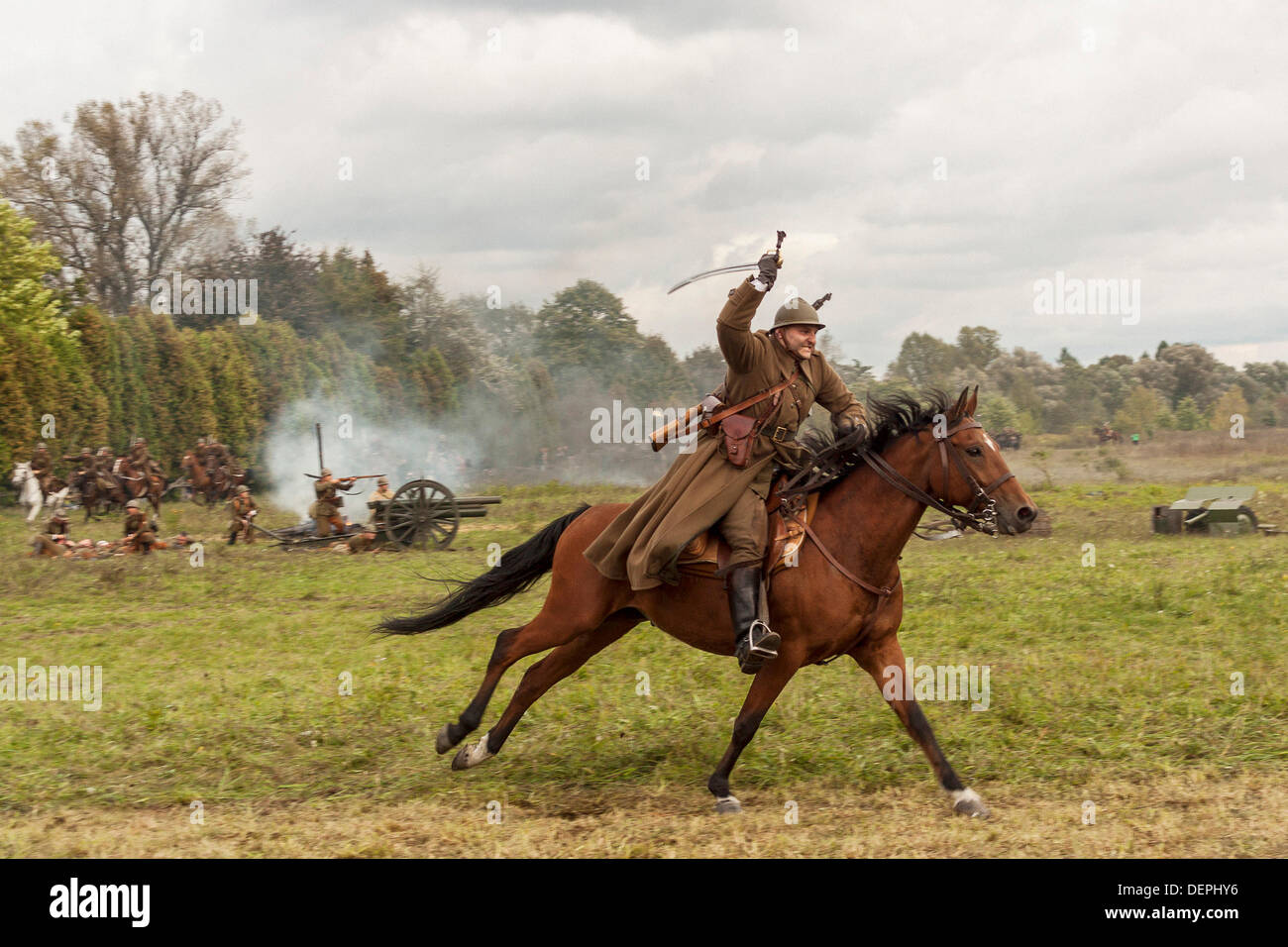 Lomianki, Poland. 22nd Sep, 2013. 22nd September, 2013. Polish cavalry ride their horses during Battle at Lomianki - historical reenactment, Poland Credit:  Travelfile/Alamy Live News - Stock Image