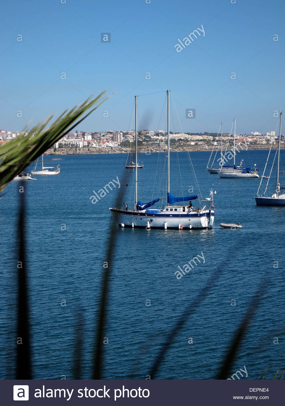 Moored twin masted Sailing boat, Cascais, Portugal Stock Photo