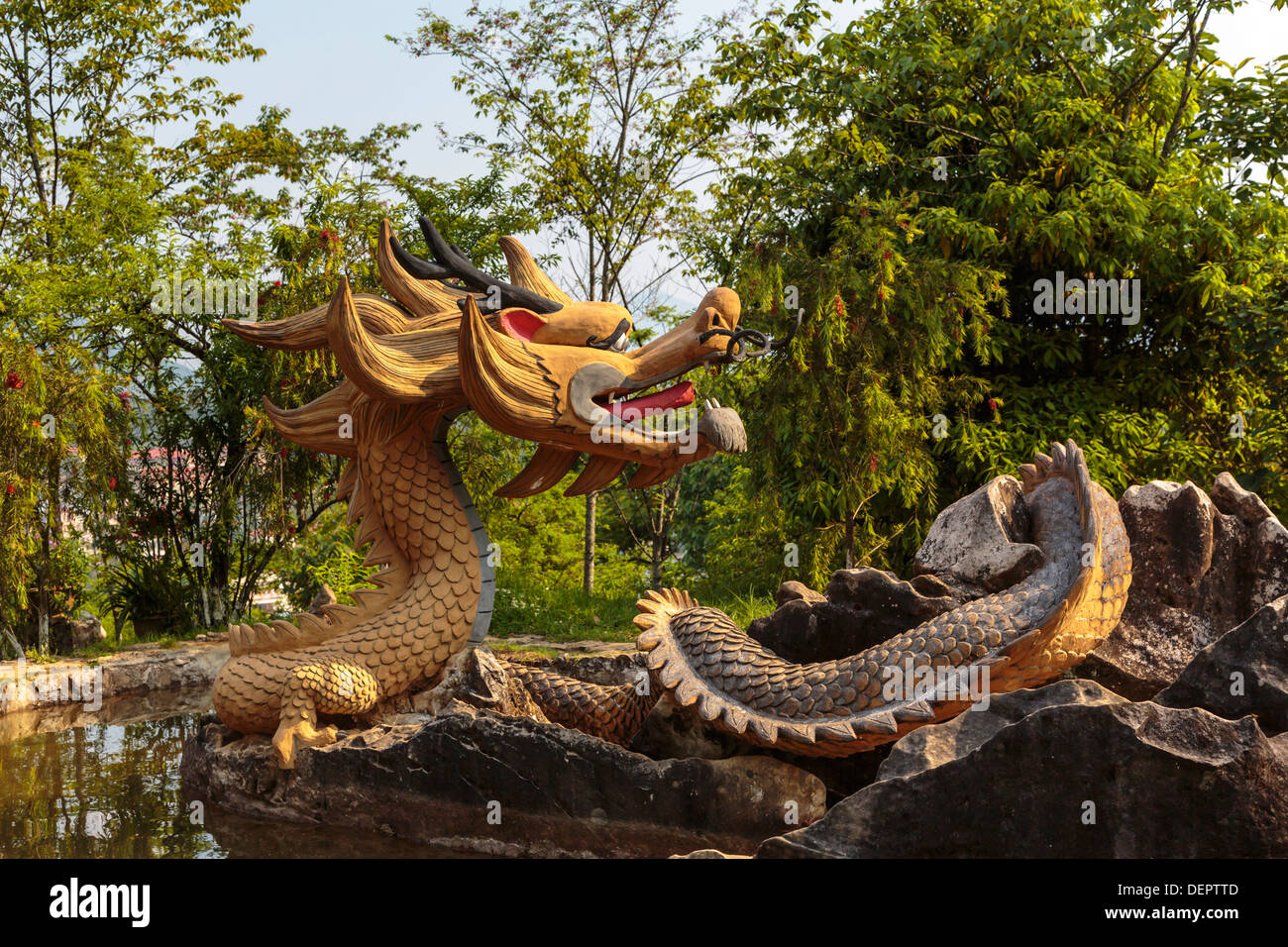 A dragon in the flower gardens on Ham Rong Mountain, Sapa, Vietnam ...