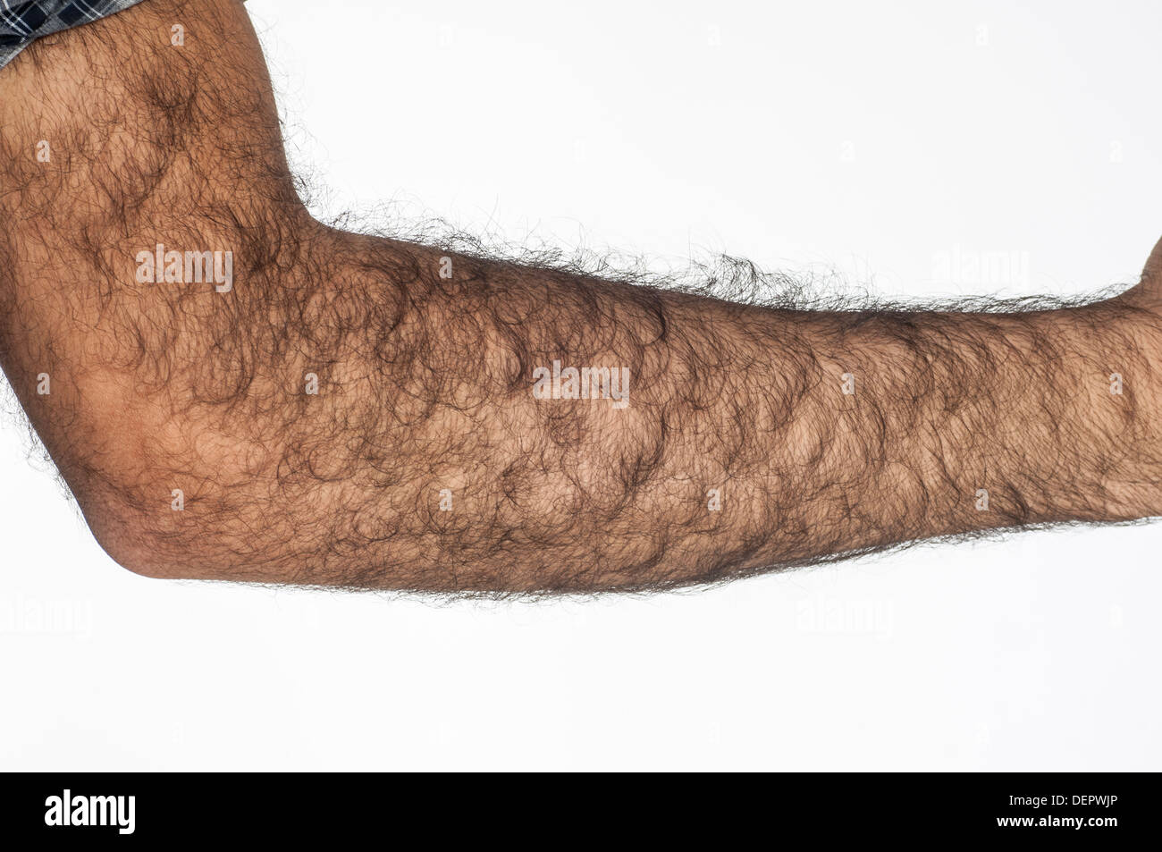 Close up of a hairy man's arm - Stock Image