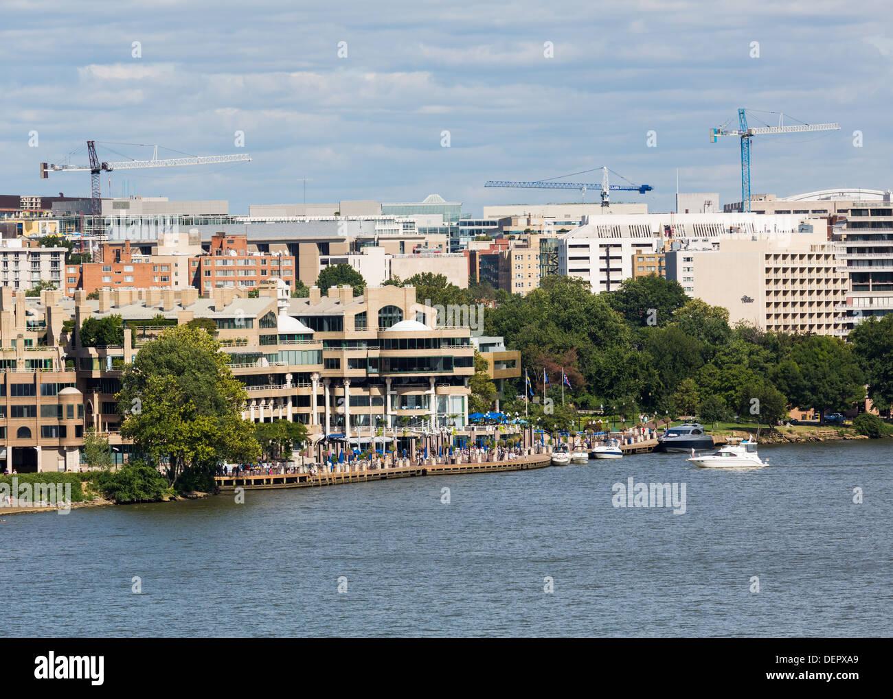 Washington DC Harbor and waterside on the Potomac River, USA - Stock Image
