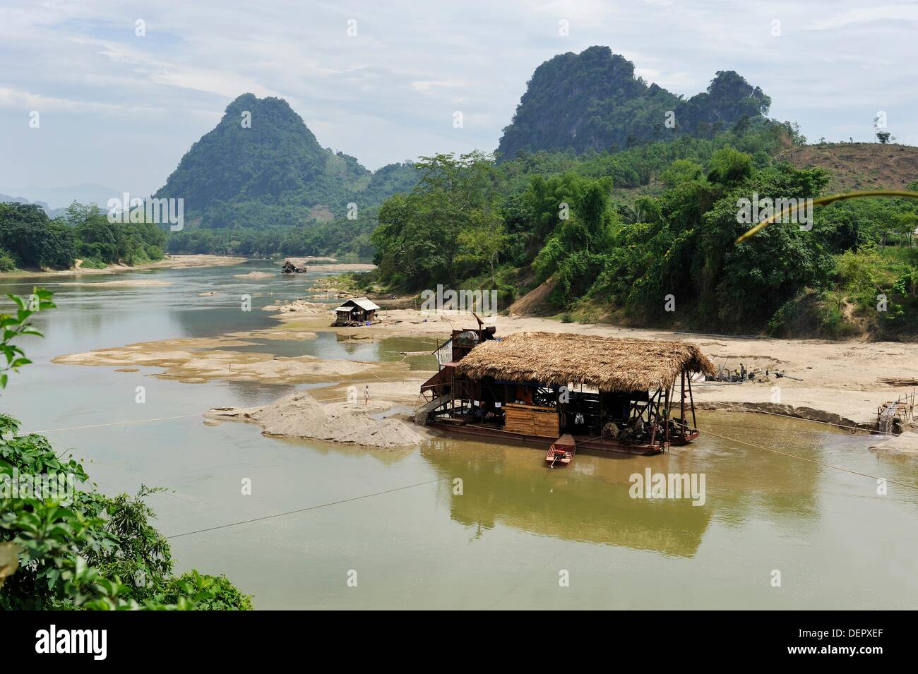 gold digger´s barge on Lo river, Ha Giang province, Northern Vietnam, southeast asia Stock Photo