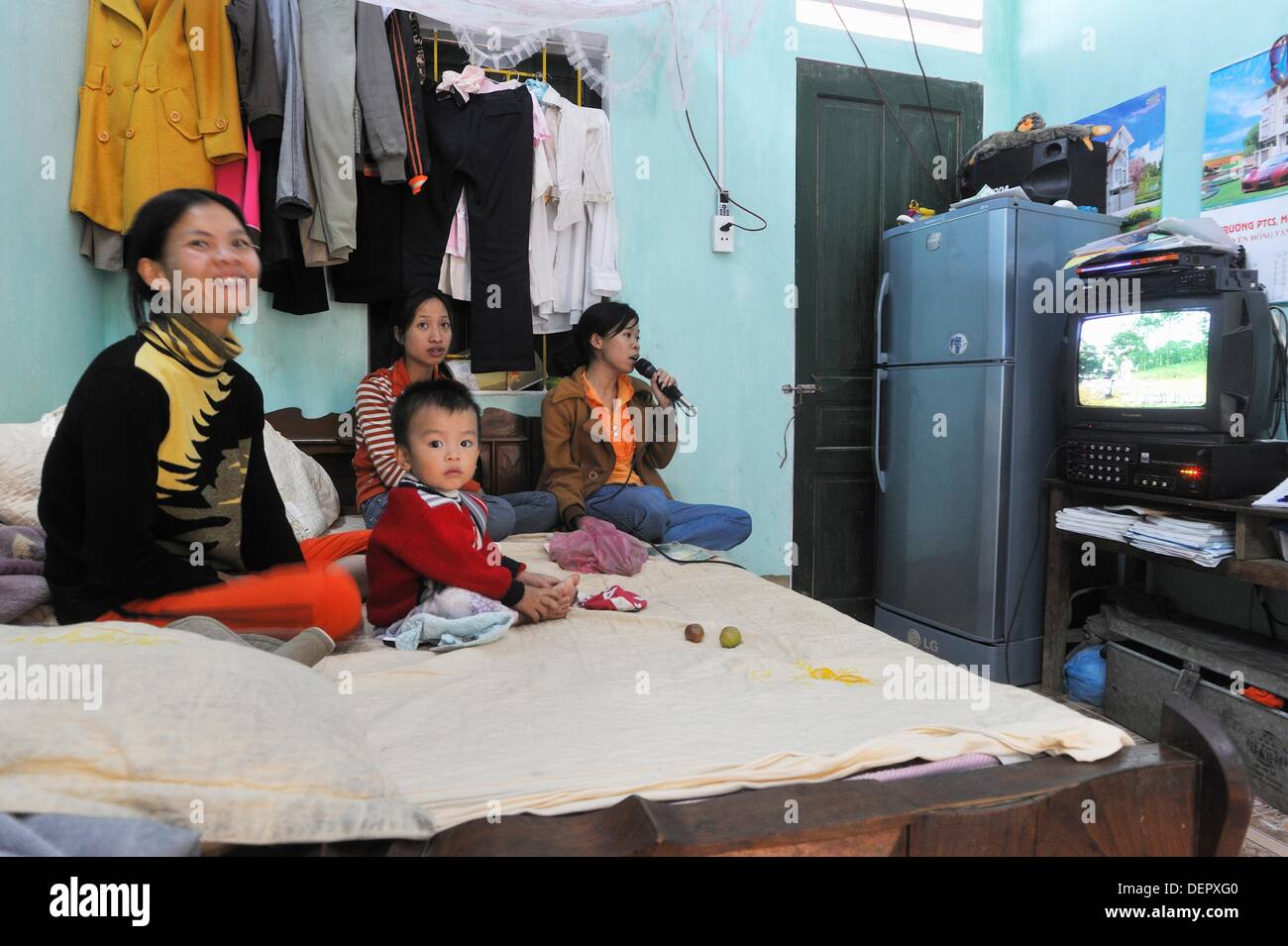 primary school teachers in their temporary accommodation in a village around Sa Phin,Ha Giang province,northern - Stock Image