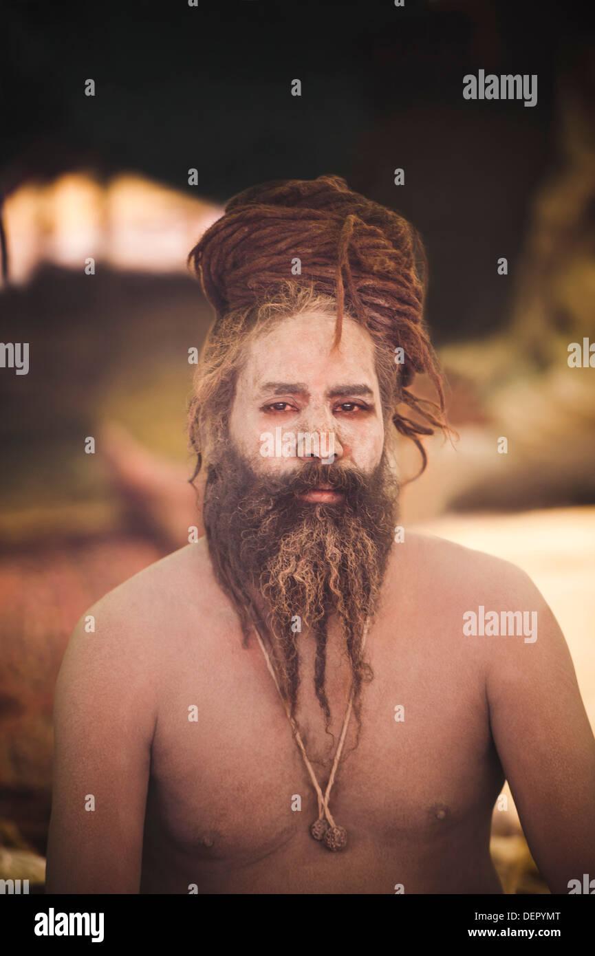 Portrait of a Naga sadhu at Maha Kumbh, Allahabad, Uttar Pradesh, India - Stock Image