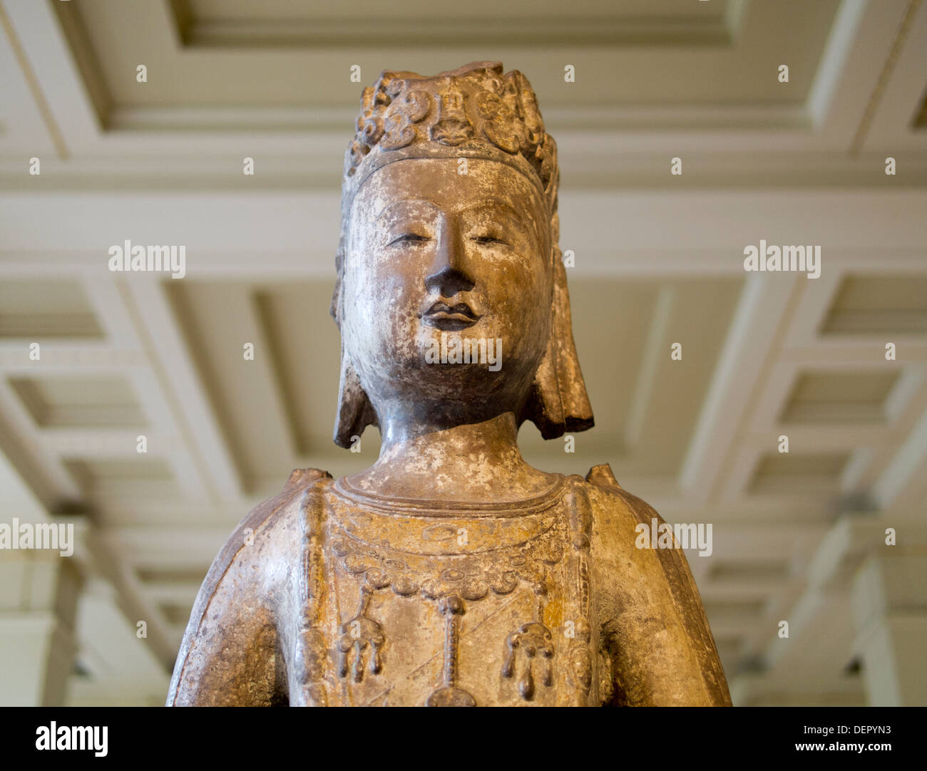 The British Museum, London - Chinese sandstone statue of a Bodhisattva 3 - Stock Image
