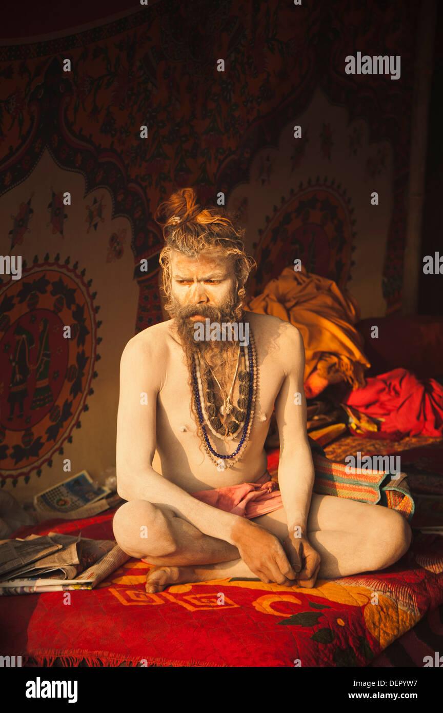 Sadhu at Maha Kumbh, Allahabad, Uttar Pradesh, India - Stock Image
