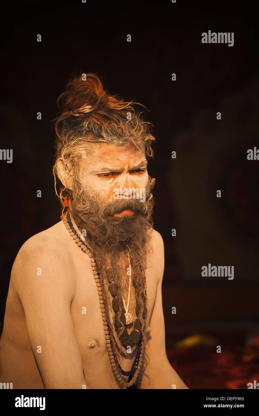 Close-up of a sadhu at Maha Kumbh, Allahabad, Uttar Pradesh, India - Stock Image
