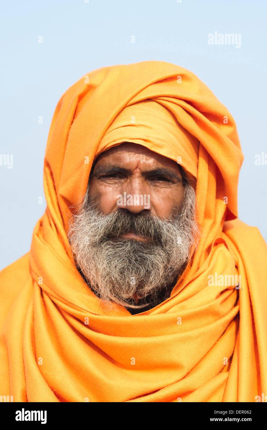 Portrait of a Sadhu at Maha Kumbh, Allahabad, Uttar Pradesh, India - Stock Image
