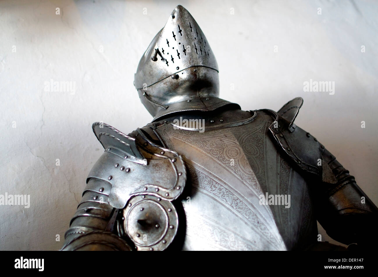 Armor of a medieval knight, seen from below - Stock Image