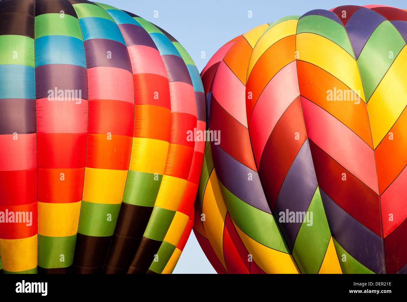 Colourful hot air balloon - Stock Image