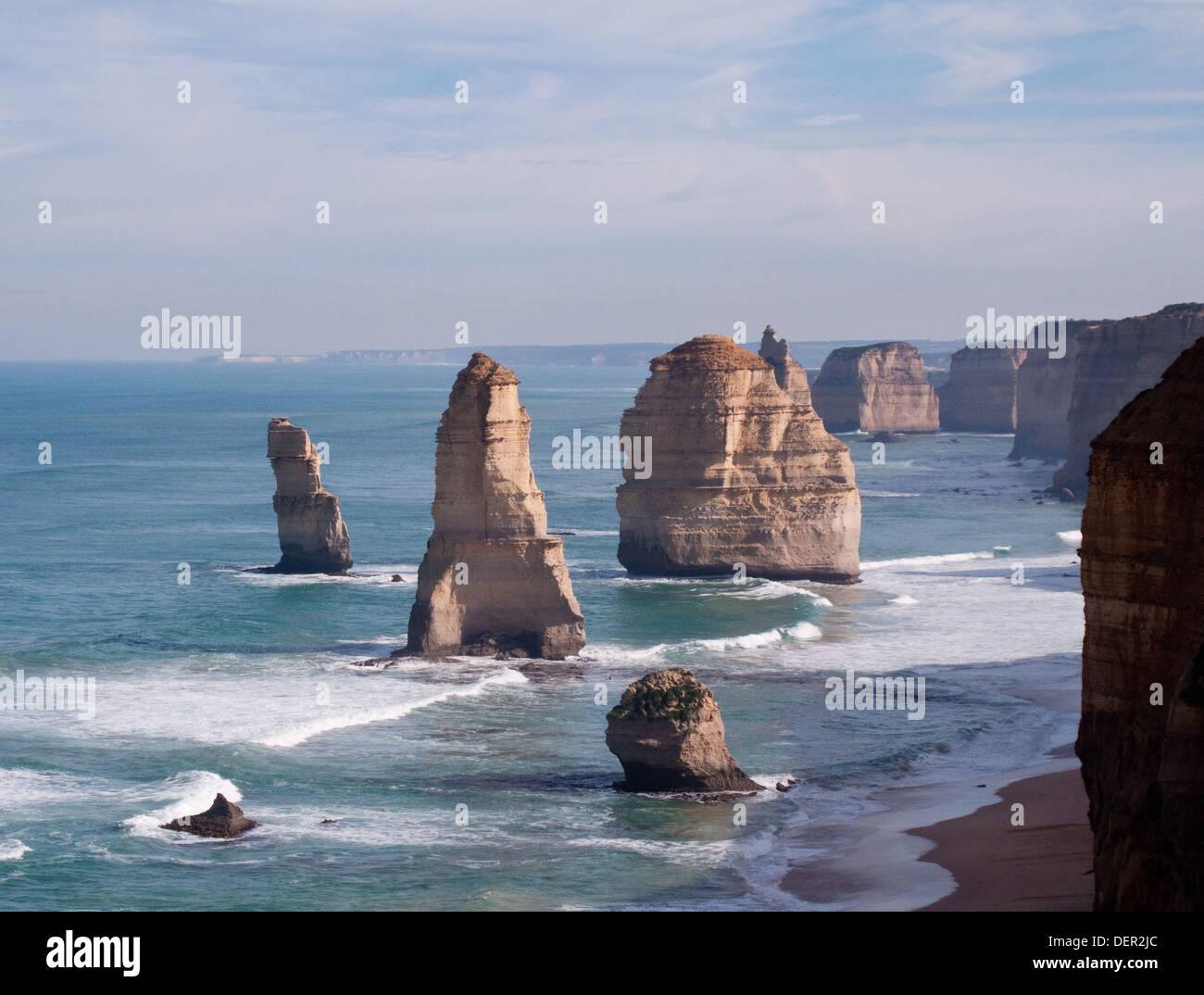 The Twelve Apostles, limestone stacks off the coast of Port Campbell National Park, Victoria, Australia - Stock Image