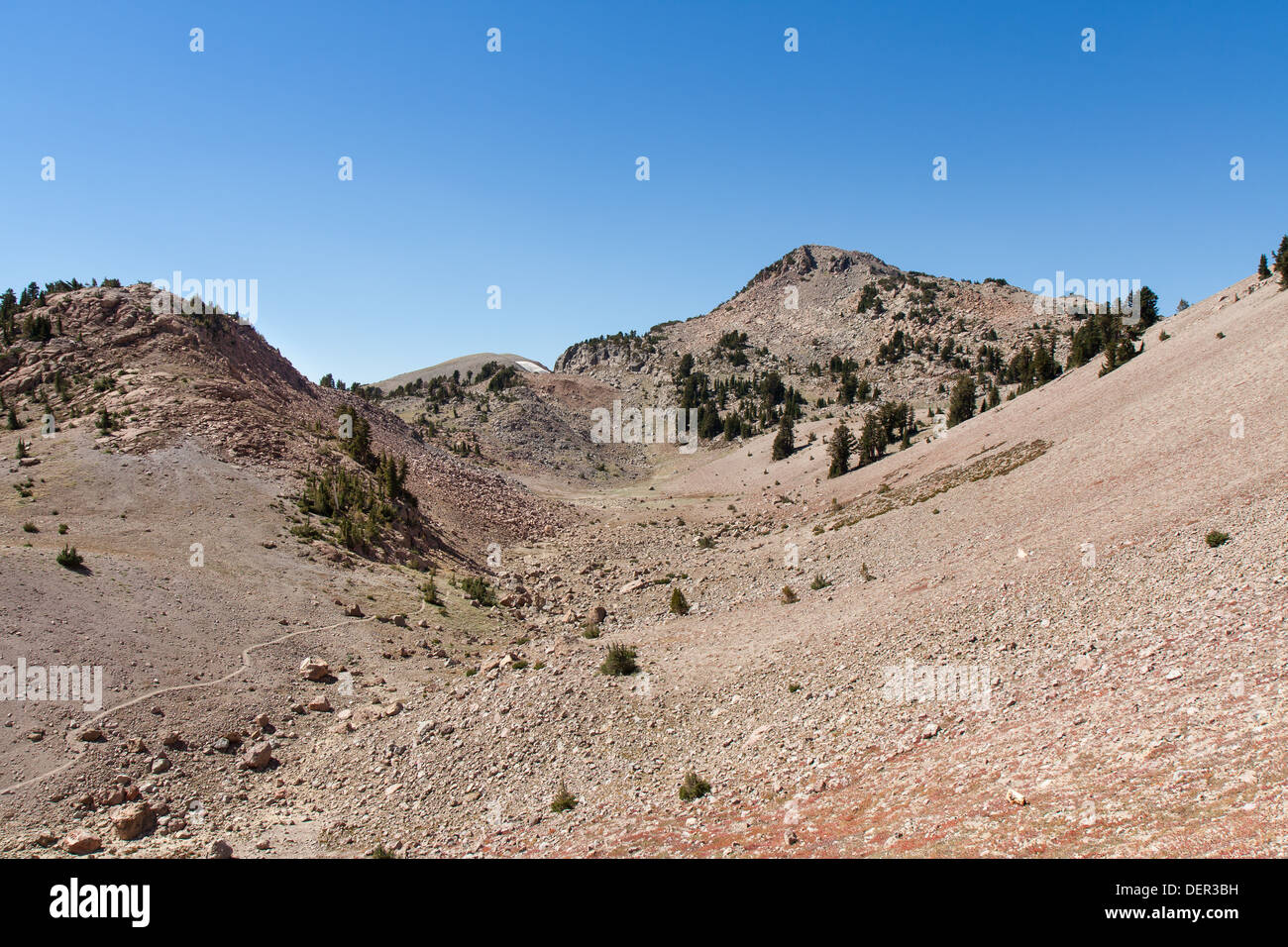 Mount Lassen exploded into a cataclysmic eruption nearly 100 years ago. Much of the surrounding area still shows the effect. - Stock Image