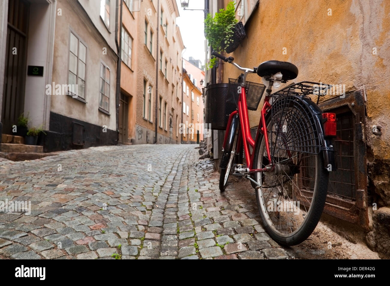 A bike in the Gamla Stan old town of Stockholm, Sweden, Europe - Stock Image