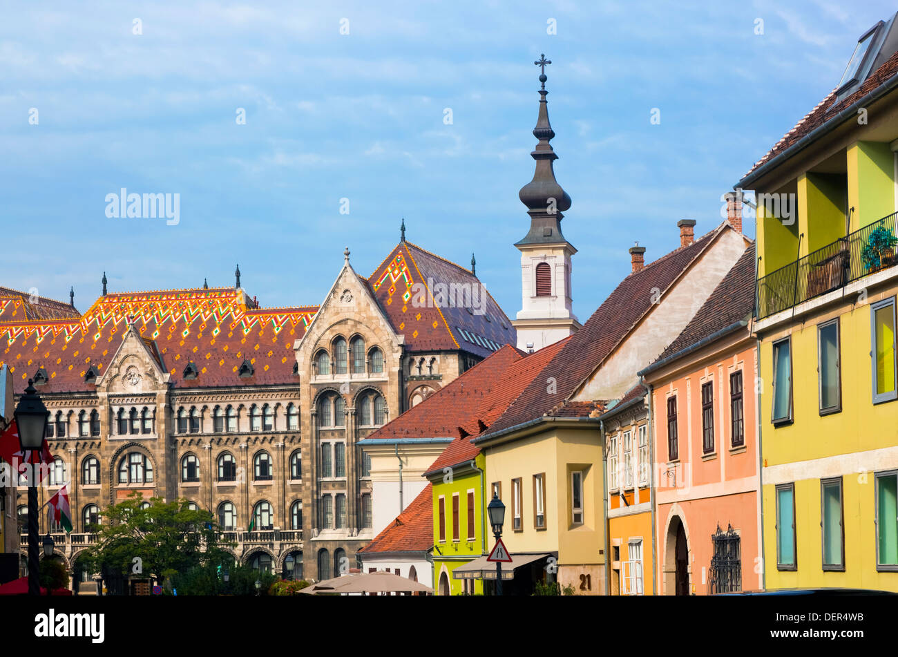 Old town buildings on the Buda Castle hill in Budapest, Hungary, Europe - Stock Image