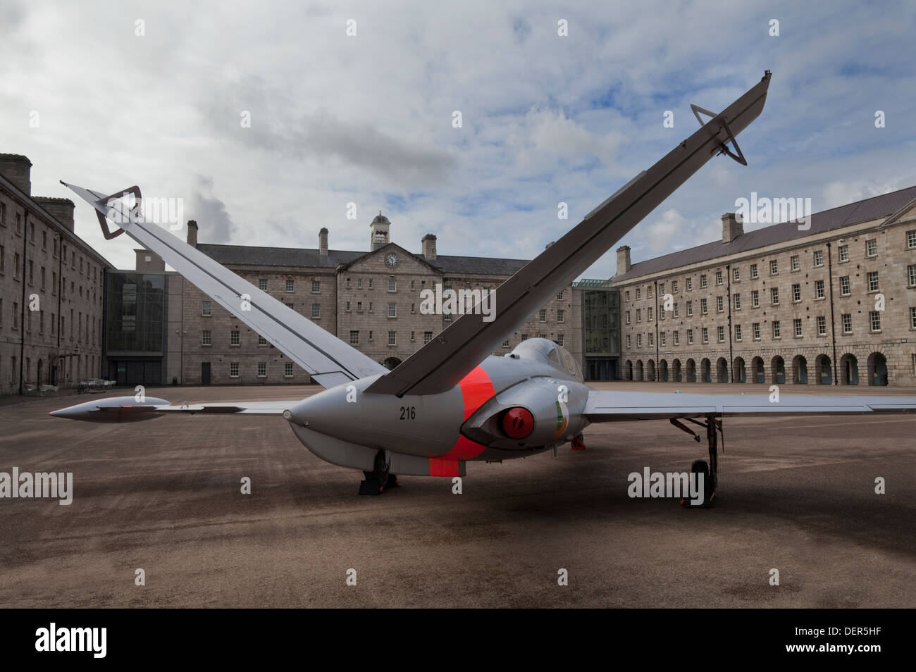Retired Irish Air Corps Fouga CM.170 Magister training aircraft, Collins Barracks - National Museum of Ireland, - Stock Image