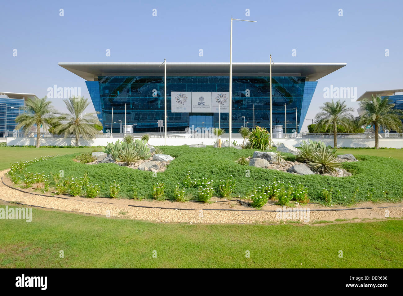 Modern office buildings at Dubai World Central logistics hub in Jebel Ali Dubai United Arab Emirates - Stock Image