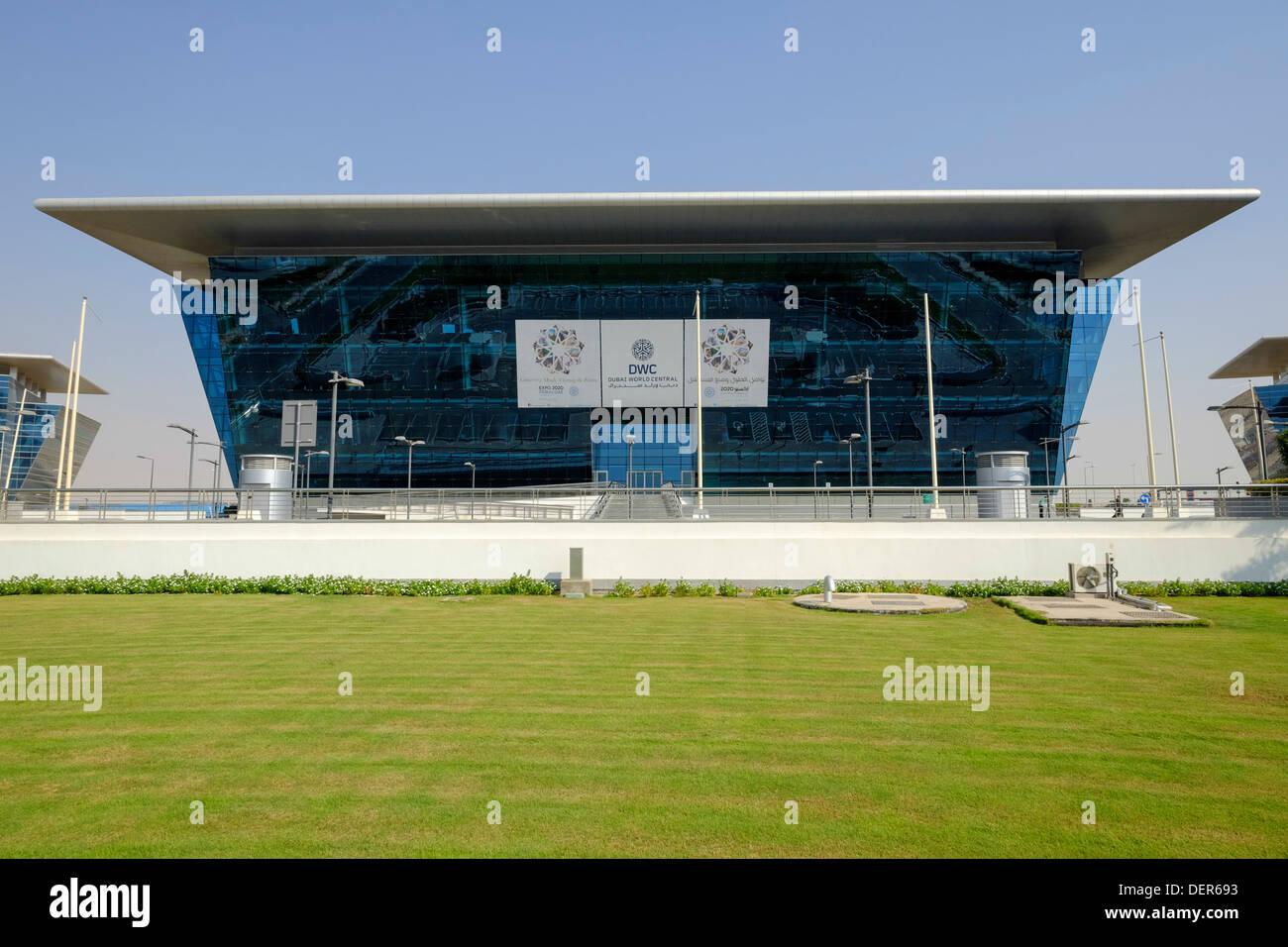 Modern office buildings at Dubai World Central logistics hub in Jebel Ali Dubai United Arab Emirates - Stock Image
