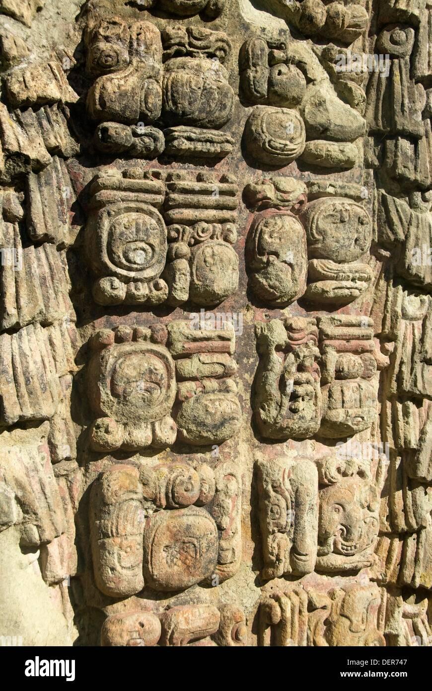 Stela A (AD 731), Copan archaeological park, Copan Ruinas, Honduras - Stock Image