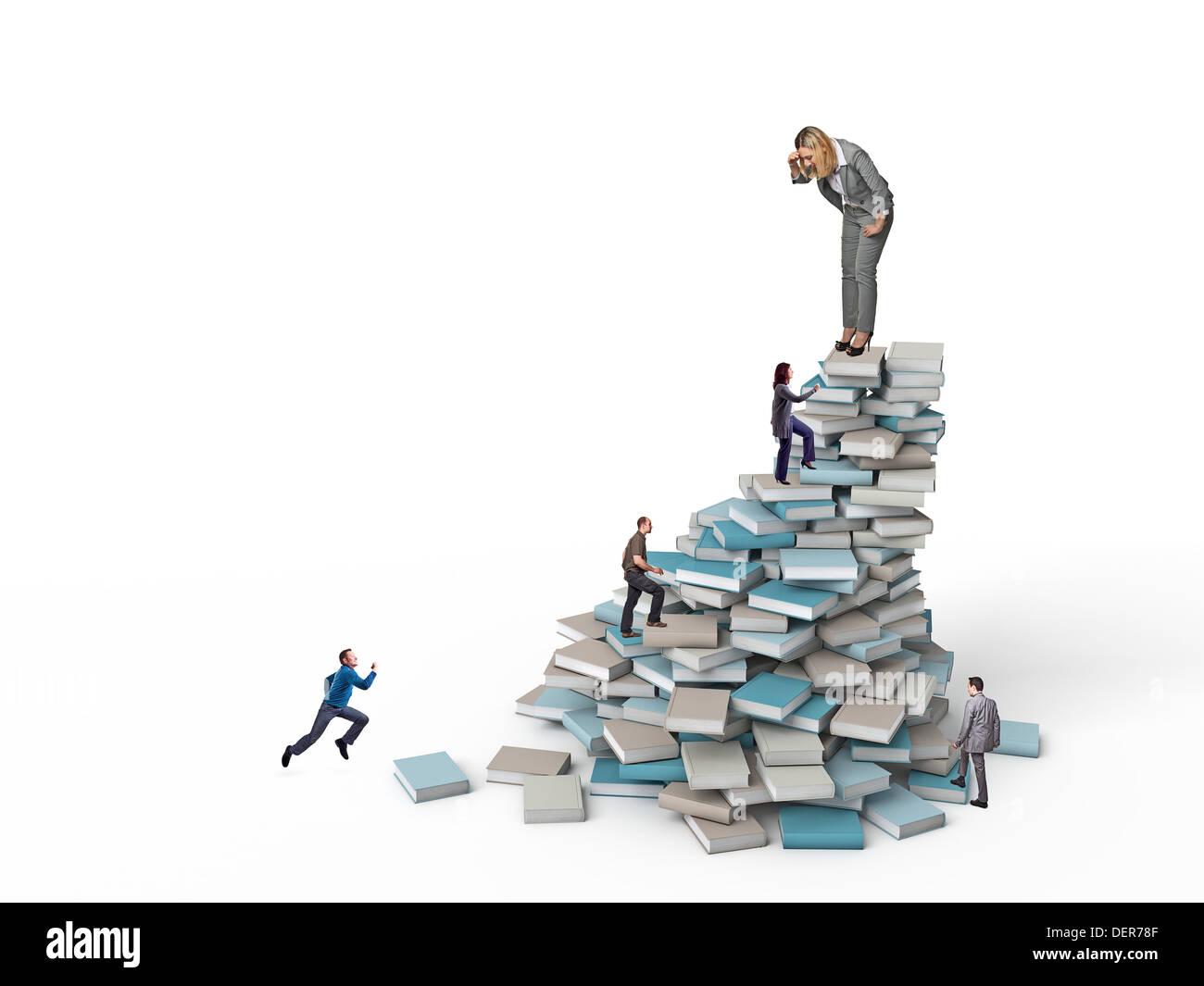 people run on books pile - Stock Image