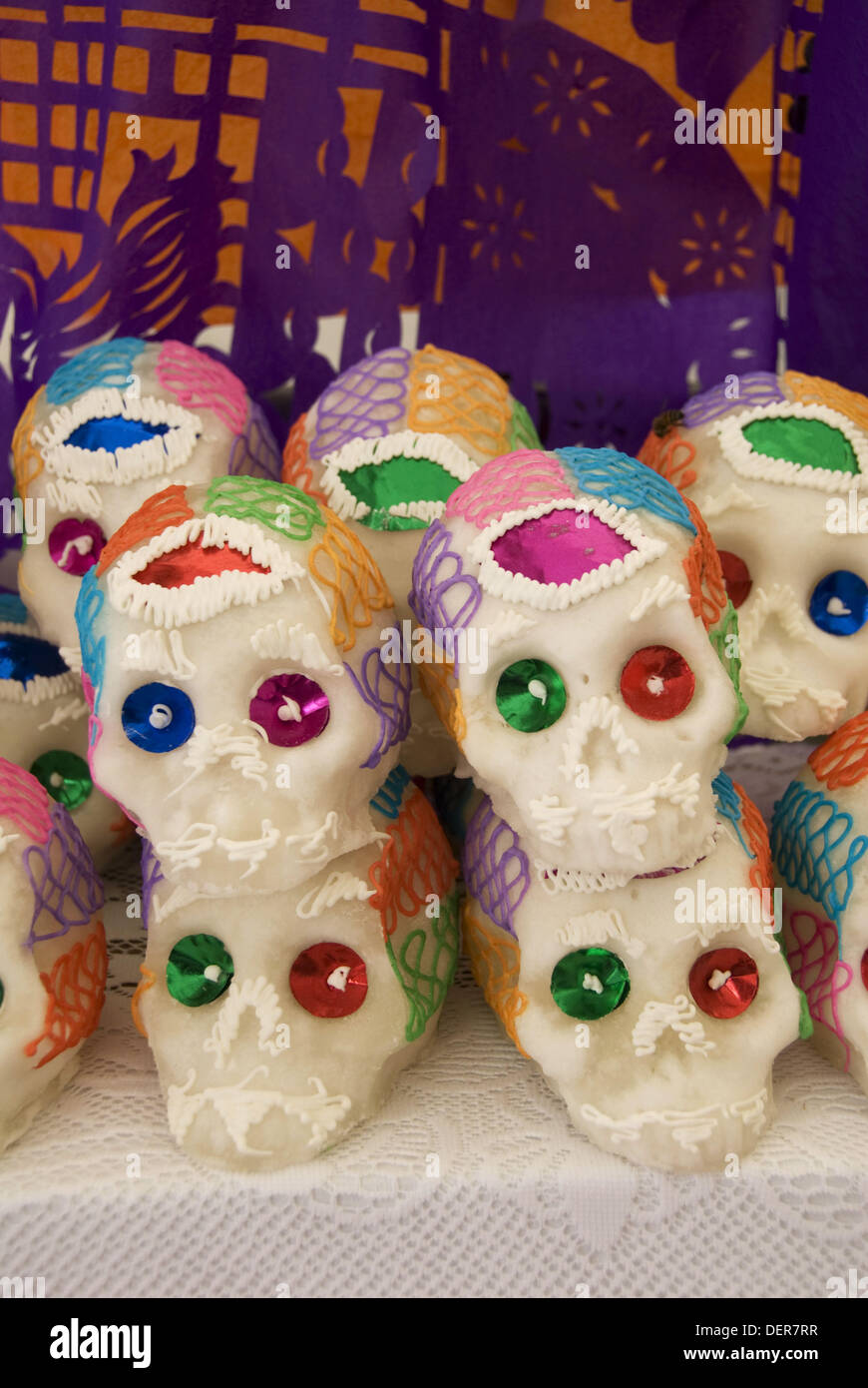 Sugar skull decorations for the Day of the Dead Festival, San Miguel de Allende, Guanajuato, Mexico Stock Photo