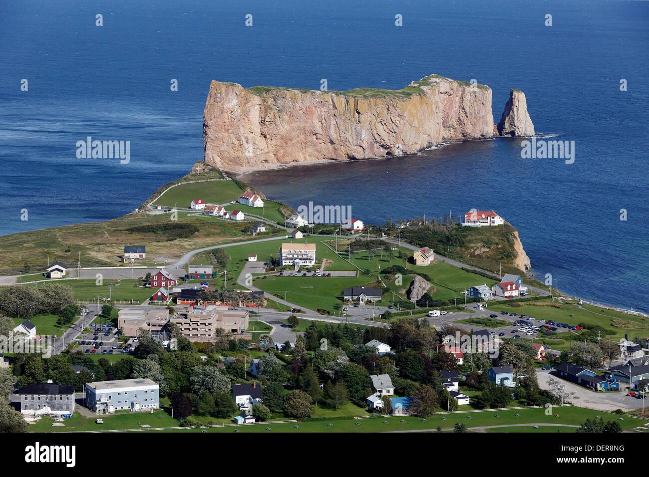 Percé Rock, Québec, Canada, seen from Mont Saint-Anne - Stock Image