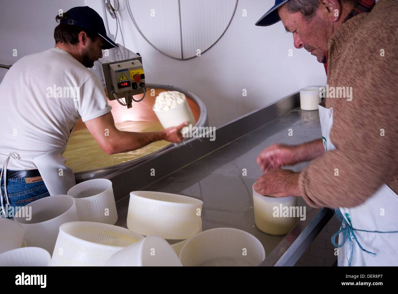 Italy, Valdobbiadene, Cesen mount, production of cheese at Malga Barbaria. - Stock Image