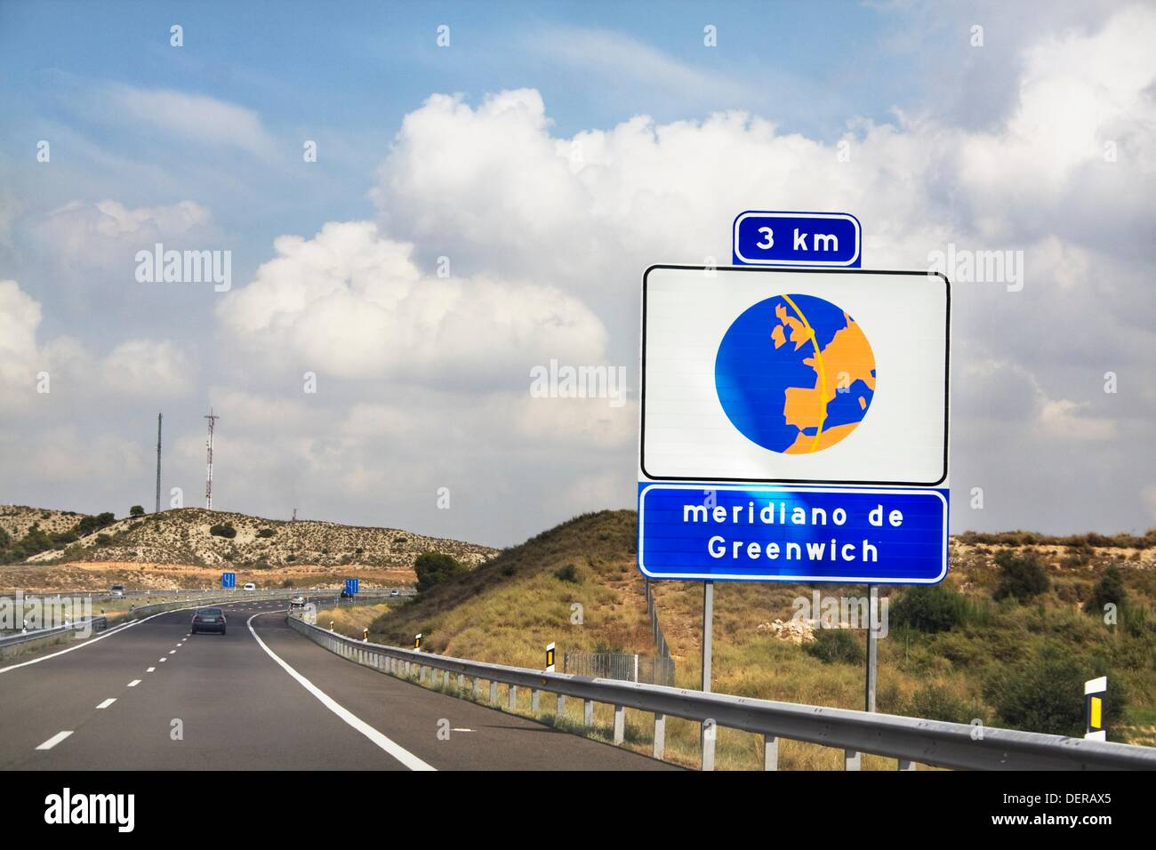 Indication of Greenwich Meridian Arc  AP-2, Spain - Stock Image