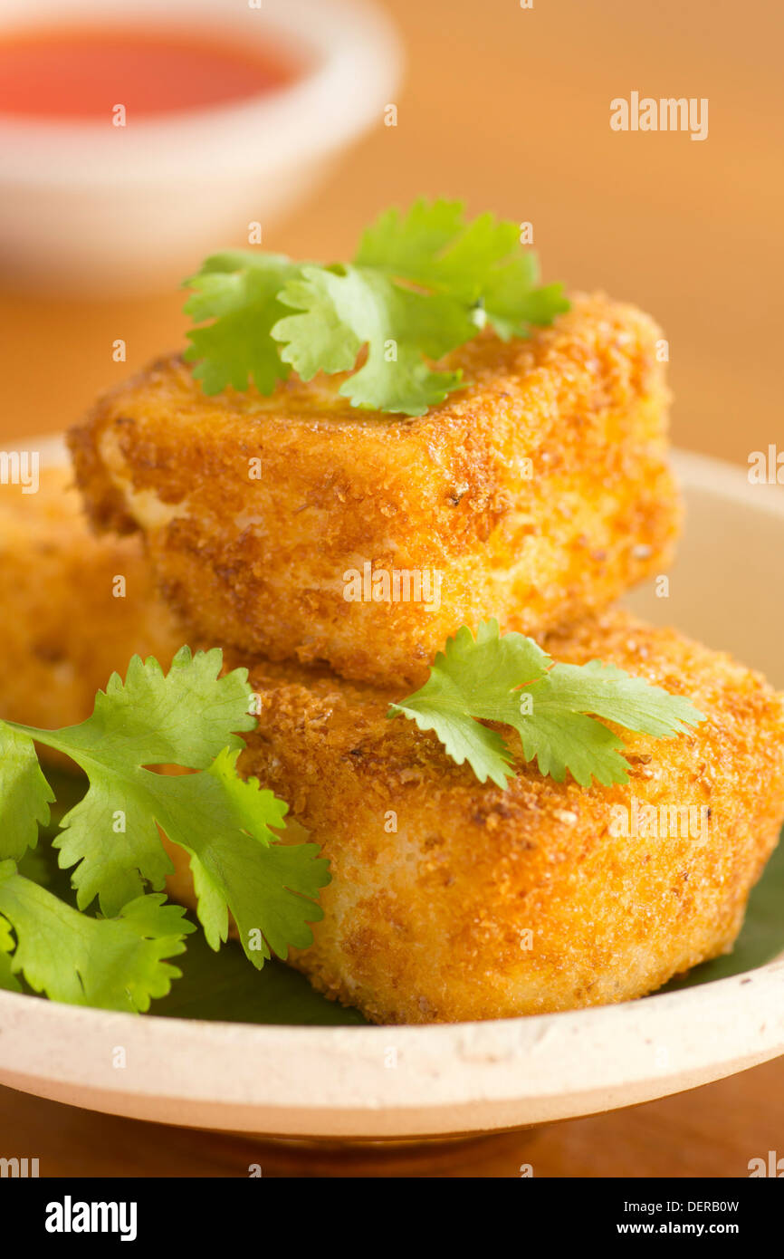 Breaded Fried Silken Tofu w Chili Oil in Background - Stock Image