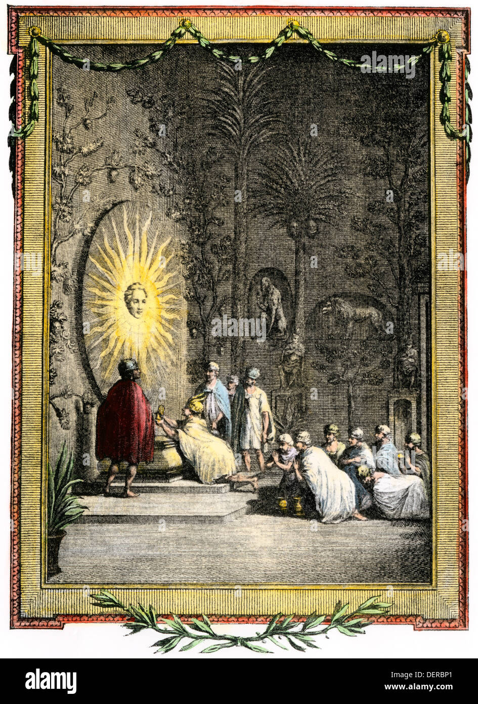 Aztecs worshiping in the Temple of the Sun. Hand-colored woodcut - Stock Image