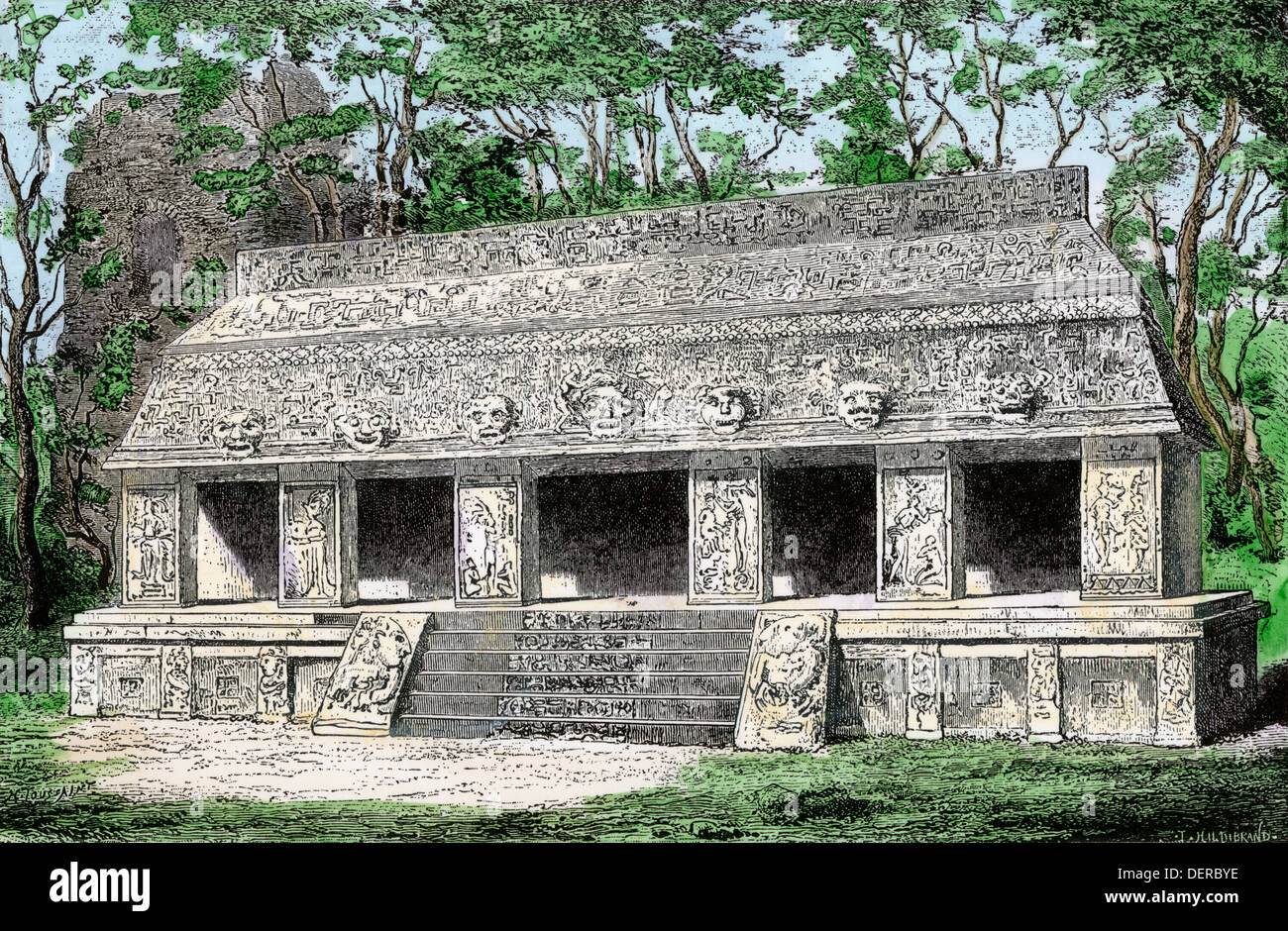 Mayan palace, conjecturally restored, at Palenque, Mexico. Hand-colored woodcut - Stock Image