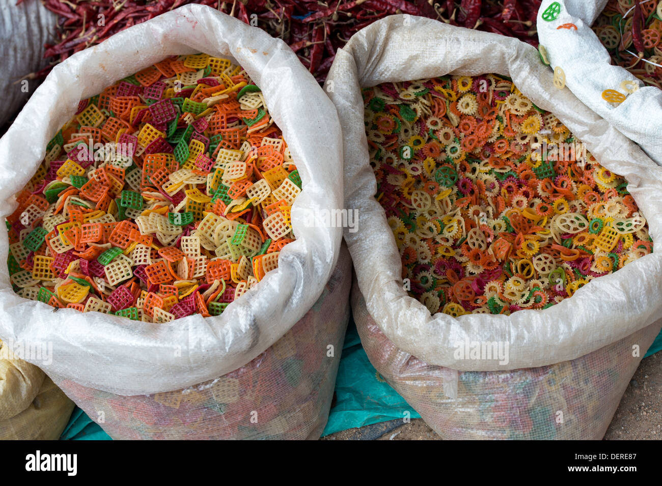 Indian snack food FAR FAR, sold dry in bulk from sacks at an Indian market - Stock Image